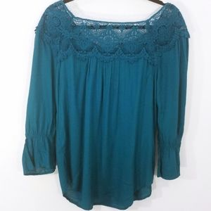 St John's Bay Teal Flowy Lace Bell Sleeve Top